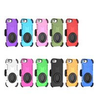 Wholesale Protective Holster Belt - 4 Layer Protective Dropproof Dirtproof Shockproof Rugged PC Silicon Holster Case Cover with Kickstand Belt Clip for iPhone 7 Plus 7