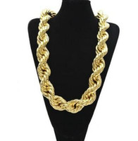 Wholesale Large Yellow Necklace - Mens Gold Plated Hip Hop Necklace Copper Heavy 3cm Extra Large Rope Chain