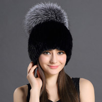 Wholesale White Russian Fox Hat - Thicken Knitting Hat Solid lined Elastic Russian Beanie With Luxury Fox Fur Pompon Cap Women Winter Real Mink Fur Beanie Hats