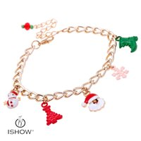Wholesale Old Women Alloys - Fashion woman plating gold chain bracelet Christmas tree reindeer old man bracelet jewelry gift Christmas present