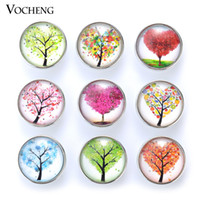 Wholesale Jewelry Cake Charms - NOOSA Ginger Snap Jewelry 18mm Glass Snap Charms Five Series Lucky Tree Cake Anchor Mixed 20pcs lot Wholesale VOCHENG Vn-1805