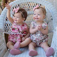 Wholesale Children Christmas Jumper Cotton - 2017 Toddler Child Kids Baby Girls Flower Floral Tassels Newborn Infants BabyGirls Bodysuit Romper Jumper Jumpsuit Summer Clothes Sunsui