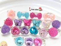 taklit mücevherat takı toptan satış-Güzel Bebek Karışık Reçine Kelebek Kalpli Taş İmitasyon Yüzük Takı Kore Kız Prenses Çocuk Çocuk Yüzükler Hediye