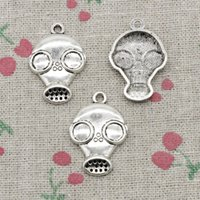 Wholesale Silver Mask Charms - 40pcs Charms gas mask steampunk 28*19mm Antique Silver Pendant Zinc Alloy Jewelry DIY Hand Made Bracelet Necklace Fitting