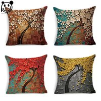 Wholesale PEIYUAN New Design D Flower and Tree Factory Custom Linen Print Plant Square Cushion Cover