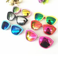 Wholesale Toddlers Sunglasses Wholesale - 6 colors Kids Plastic Frame Sunglasses Toddlers Rivet Round Shades Mirrored Lens Eyewear hot selling