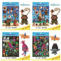 Wholesale Doll Wall Stickers - Trolls Moana Foil Stickers Toys Cartoon Action Figures Doll Kids Toys for Children Trolls Stickers Toy Gift OOA2303