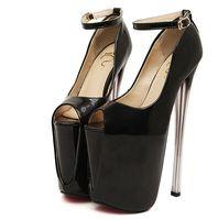 Wholesale Plus Size Peep Toe - Plus Size 34-43 19cm 22cm Super High Heels Spring & Autumn Women Pumps Peep Toe Platform Leather Women Pumps Buckle Strap Sexy Women Pumps