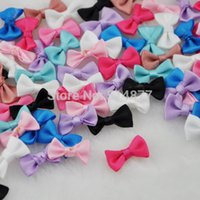 Wholesale Yellow Satin Craft Bows - Wholesale-100 pcs Small Satin Ribbon Bows Flower Appliques sew Craft Kid's cloth Lots Upick B128