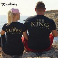 Wholesale Top Couple Tshirt - Raodaren Women Tops KING&HIS QUEEN Black Print Gold Letter Behind Couples Cotton T-shirt Creative Short Sleeve Women tshirt Plus Size