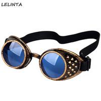 ingrosso occhiali caldi caldi-All'ingrosso- LELINTA Cool vendita calda occhiali Goggles unisex Vintage Occhiali da saldatura stile gotico Steampunk Goggles Occhiali Cosplay gialli