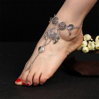 Wholesale Trendy Shoes For Women - Vintage Antique Silver Retro Coin Anklets For Women Yoga Sexy Ankle Bracelet Sandals Brides Shoes Barefoot Beach Gifts 2017 Wholesale