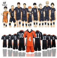 ropa deportiva de voleibol al por mayor-Haikyuu Cosplay Karasuno High School Volleyball Club Hinata Shyouyou Ropa deportiva Jerseys Uniforme