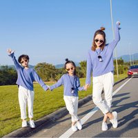 Wholesale Children Brown Autumn Outfit - Mother and Children Casual Outfits 2pc set Knitting blue loose T shirt white fashion vintage jeans spring family matching look clothes