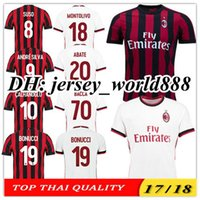 Wholesale Kaka Milan - Top Thai quality 17 18 AC Milan Home red black soccer jersey 2017 2018 CALHANOGLU ANDRE SILVA BACCA KAKA SUSO BONUCCI away football shirts