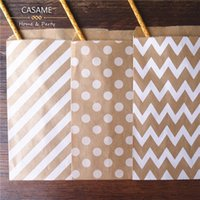 Wholesale Chevron Paper Favor Candy Bags - Wholesale-50pcs  Lot treat candy bag high quality Party Favor Paper Bags Chevron Polka Dot Stripe Printed Paper craft Bags Bakery Bags