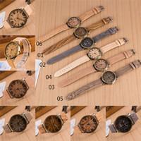 hombres libres dhl reloj al por mayor-Relojes de lujo Hombres de madera Reloj de mujer Correa de cuero de moda Casual Relojes de pulsera de cuarzo Dial de bronce DHL libre 51