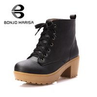 Wholesale Thick Sole High Heel Boots - Wholesale- BONJOMARISA 2016 Women Ankle Boots Women Thick Sole High Heeled Platform Shoes Woman Spring Fall Lace-up Winter Snow Fur Boots