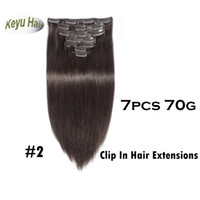 Wholesale Darkest Brown Clip Hair Extensions - Best Quality Darkest Brown #2 Silky Straight Clip in Human Hair Extensions 70g Indian Remy Hair For Full Head