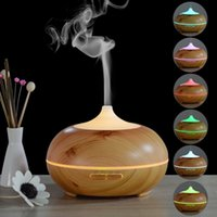 Wholesale Wooden Aroma Diffuser - Wholesale 300ml Wooden Ultrasonic Humidifier Aroma Diffuser Essential Oil Diffuser Aromatherapy mist maker with LED Colorful Light