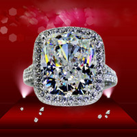 Wholesale Stone Cushions - Hot Sale Luxury ForeverBeauty 8CT Cushion Cut Star Style Diamond Lady Rings For Party Ring