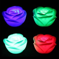 Wholesale flower shape led light - Changeable Color LED Rose Flower Candle Light Smokeless Flameless Roses Love Lamp Colors Changing Rose Shaped Night Light Romantic Lamp