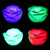 Changeable Couleur LED Rose Fleur Bougie Lumière Smokeless Flameless Roses Love Lamp Couleurs Changing Rose Shaped Night Light Romantique Lampe