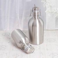 Wholesale Wholesale Oz Flask - Stainless Steel Beer Barrel Portable Vacuum Cup Creative High Grade Gift 64 oz 32 oz Leak Proof Hip Flask Bottles 30tm R