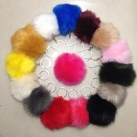 Wholesale NEW Real Rabbit Fur Keychain Pom Pom keychain fur ball Keychain Car Keyring Bag pendant Accessories