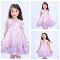 Wholesale Wholesale Evening Gowns Free Shipping - Pink Kids Dress Girls Dresses Princess Petals Party Summer Evening Dresses Embroidered 2 Colors 2017 Summer Clothing DHL Free Shipping