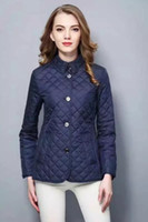 baumwolle gepolsterte jacken großhandel-Hot Classic! Frauen Mode England kurze dünne Baumwolle gepolsterten Mantel / hohe Qualität Marke Designer Jacke für Frauen Größe S-XXL # 19010 versandkostenfrei