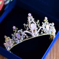 corona de cuentas reina al por mayor-Euramerican Queen Vintage Wedding nupcial cuentas Crystal Rhinestone Crown diademas Hairband Tiara accesorios para el cabello Headwear Headpiece rosa