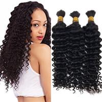 Wholesale Deep Hair Braiding - Deep Wave Human Braiding Hair Bulk 3 Bundles Unprocessed Malaysian Bulk Hair for African American G-EASY