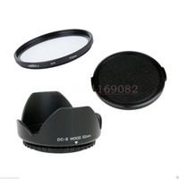 Wholesale Lens Cap Lumix - Wholesale-3 in 1 52mm Lens Cap cover + Flower Lens Hood + Green.L UV Filter For 52mm Panas&nic Lumix DMC G1 G2 G10 FZ200 FZ62