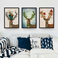 Wholesale Deer Canvas - Unframed Colorful Animal Deer Portrait Oil Painting On Canvas Hand-painted Stag Oil Painting For Home Decoration