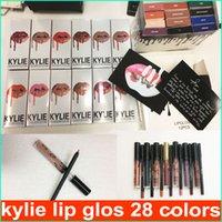 Wholesale Lipstick Making Kits - Kylie Lipliner pencil Velvetine Liquid Matte Lipstick Lip Gloss Kylie lip kit line Make Up 28 colors free shipping