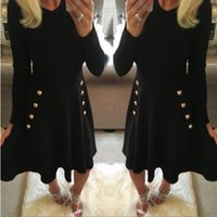 Wholesale Long Sleeve Babydoll Dress Black - Casual Black Babydoll A-Line Casual Swing Short Pleated Dress Crew Neck Skater Dress Long Sleeved Ball Gown O-Neck Collar