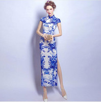 Wholesale Chinese Cheongsam For Sale - Blue And White Porcelain Modern Qipao Long Wedding Chinese Antiques For Sale Traditional Cheongsam Sexy Oriental Evening Dress