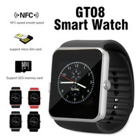 Wholesale Turkish Silver Bracelets Wholesale - GT08 Bluetooth Smart Watch with SIM Card Slot and NFC Health Watchs for Android Samsung and IOS iPhone Smartphone Bracelet Smartwatch in Box