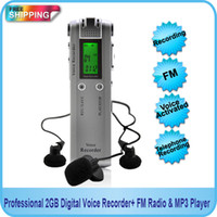 Wholesale Free Wav Mp3 - Wholesale-Free shipping! Professional 4GB Digital Voice Audio USB Recorder Dictaphone with MP3 Player Function + FM Radio
