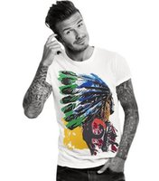 Wholesale Male Gradient Shirt - Fashion Brand New men T-shirt Casual loose fit Short Sleeve O-neck t shirt male Indian Print Tops Tees