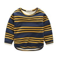 Wholesale Boy Cashmere Shirt - New winter children's clothing Boys children stripes plus cashmere thickening warm T-shirt bottoming shirt