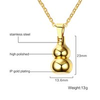 Wholesale Gourd Necklace Pendant - Fashion Gold Plated Necklace 23.5MM Stainless Steel Gourd Can Open Pendant Choker Necklace Colar Charm Jewelry for Women Men PN-704