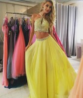 Wholesale Yellow Chiffon Crystals - Spring 2017 Long Evening Dresses Halter Hollow Crystals Beads Two Piece A-Line Prom Pageant Dress Yellow Chiffon Women Runway Fashion Gowns