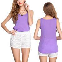 Wholesale Plus Size Brown Tee Shirt - Wholesale- 2016 Chiffon Loose T shirt Femme Plus Size S-3XL Summer Ladies Chiffon Loose Women Tops Sleeveless Fashion Tee Shirt