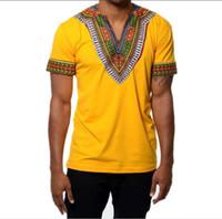 Wholesale Boys V Neck T Shirts - African Men Males Boys Fashion Casual short Sleeve Minority Style Flower Printing V-neck Long Sleeve T-shirt Tops 3289