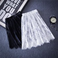Wholesale Embroidery Denim Skirts - hot Summer Women Sexy Lace Skirts Fashion Solid Casual Mesh tulle skirt Hollow Out short Pencil Elegant Black White Skirt