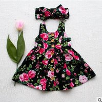 Wholesale Tank Top Flower Girl Dresses - Baby girls dresses with cute bows hair band toddler kids flower printed single breasted tank top princess dress 2pcs sets kids clothes T2462