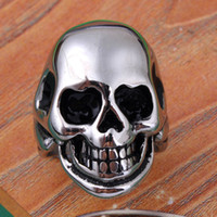Wholesale Stainless Steel Skull Beads - Mens Rings Charms Stainless Steel Skull Adjustable Ring 3 Colour Bead Accessories Silver Plated Hip Hop Jewelry Reiki Amulet