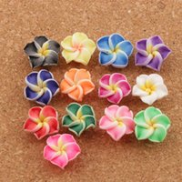 Wholesale Bead Eggs Jewelry - 12mm Colorful Polymer Clay Plumeria Flower Charm Beads 250pcs lot Egg Flowers Lily Flower Jewelry Findings L3103